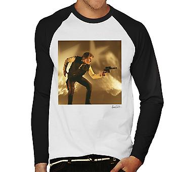 Star Wars Behind The Scenes Han Solo Gun White Men's Baseball Long Sleeved T-Shirt