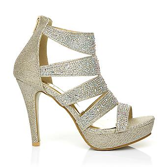 LUXE Champagne Gold Caged Diamante Encrusted High Heel Platform Peep Toe Sandals