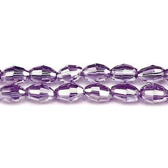 Strand 70+ Violet Czech Crystal Glass 6 x 8mm AB Faceted Rice Beads GC3576-2