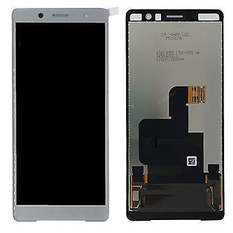 Sony vise LCD komplet enhed for Xperia XZ2 kompakt H8314 / H8324 hvid / sølv reservedele nye