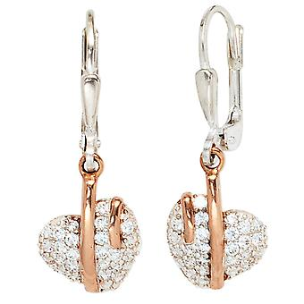 Boutons heart 925 sterling silver with cubic zirconia earrings red gold plated