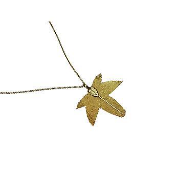 Gemshine - ladies - necklace - pendants - gold - leaf - Maple - nature - 7 cm
