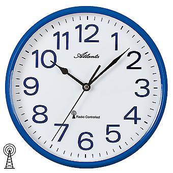 Atlanta 4378/5 pared radio reloj controlado de radio pared reloj analógico azul blanco redondo