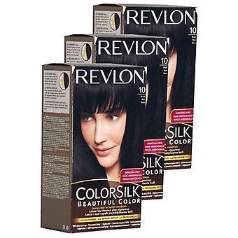 3 x Revlon Colorsilk schönes Haar Farbstoff 10 schwarz