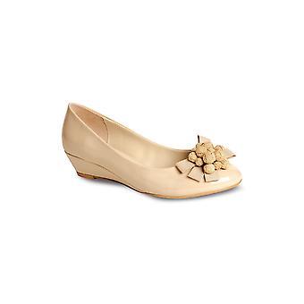 Damen Patent niedrige Keil Blume Bogen vorne Womens bequemen niedrigen Ferse Schuh