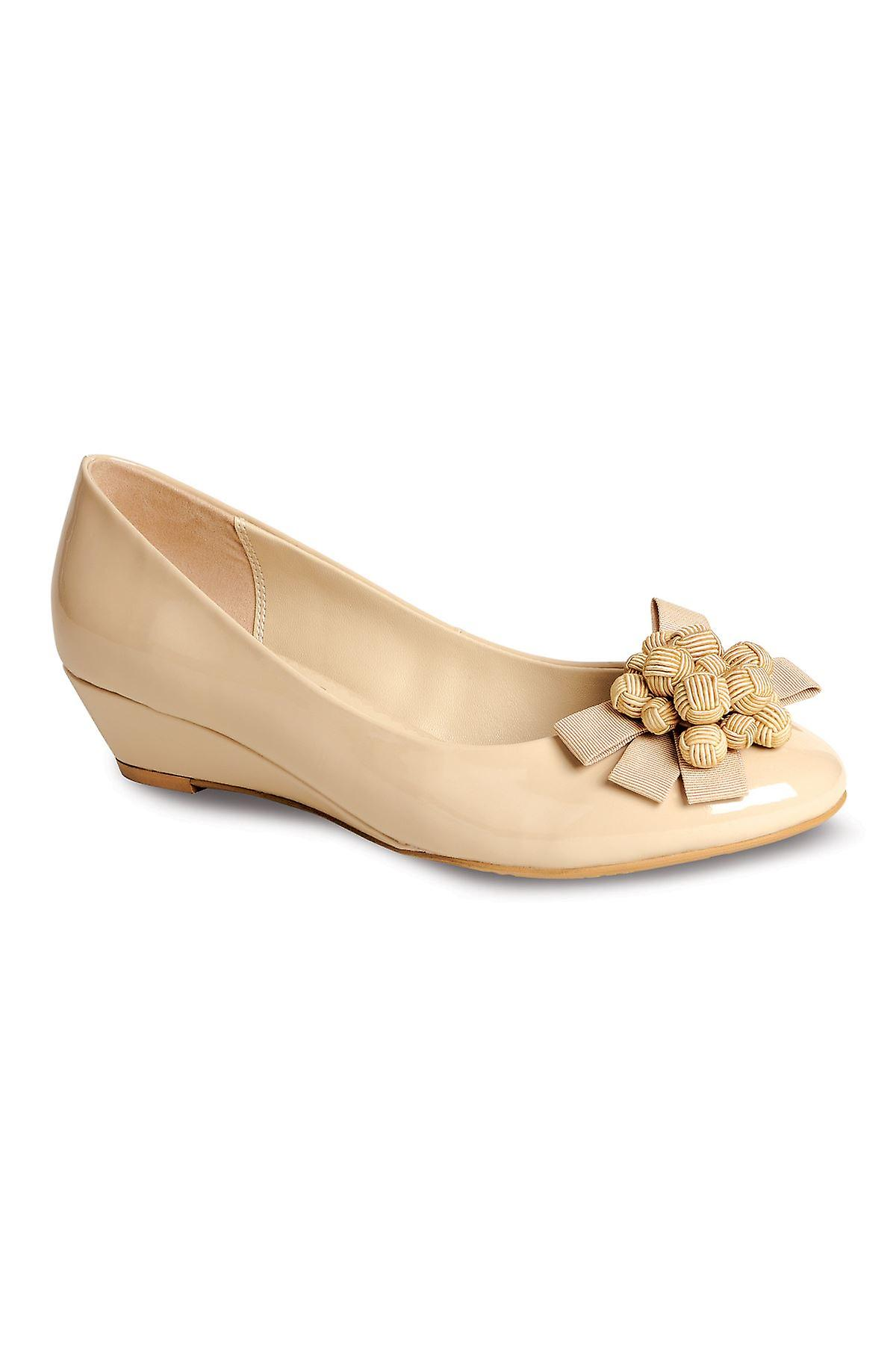 Ladies Patent Low Wedge Flower Bow Front Womens Comfy Low Heel Shoe