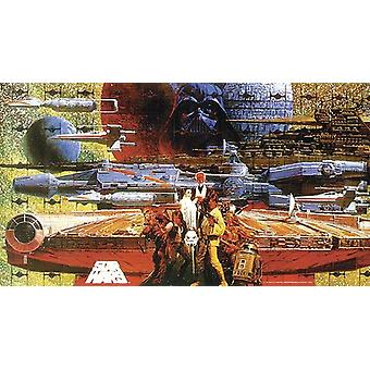 Star Wars Poster Japanese scratch of many Star Wars characters and ships
