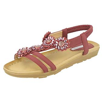 Ladies Anne Michelle Sandals With Diamante Flower Detail
