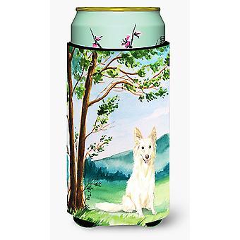 Under the Tree  White Collie Tall Boy Beverage Insulator Hugger