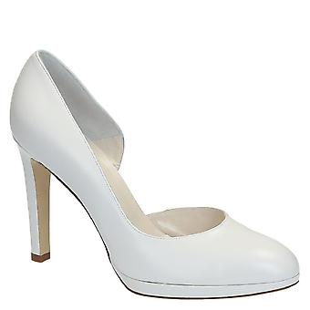 White kid leather d'orsay pumps shoes for bride