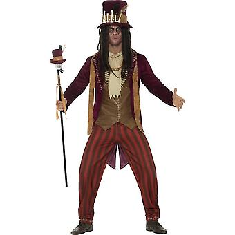 Deluxe Voodoo Witch Doctor Costume, Red, with Trousers, Jacket, Waistcoat, Necklaces & Hat