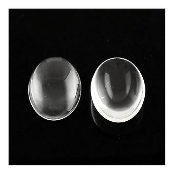 Packet 10 x Clear Glass Flat Back 30mm Oval 6mm Thick Cabochon Y03465