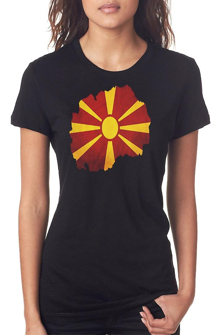 Macedonia Flag Map Ladies T Shirt