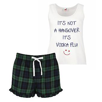 It's Not A Hangover It's Vodka Flu Pyjamas Ladies Tartan Frill Short Pyjama Set Red Blue or Green Blue