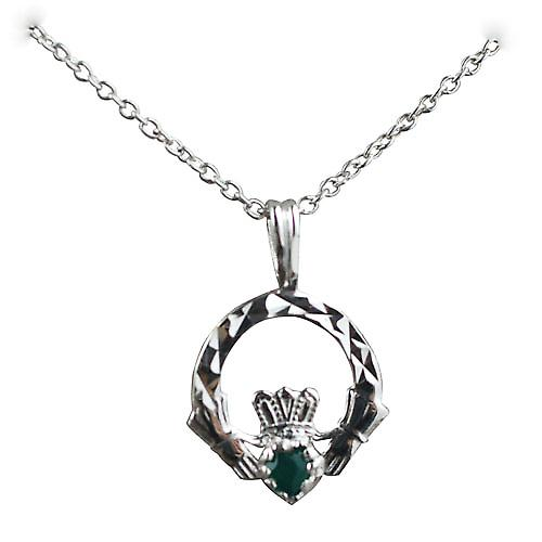 Silver 20x15mm diamond cut Claddagh set with Green Agate Pendant with a rolo chain