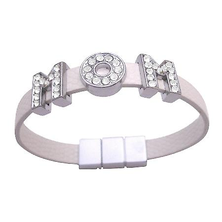Mom Bracelet On White Cuff Bracelet Can Customize Name Bracelet