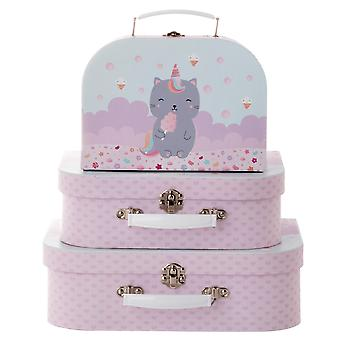 Sass & Belle Set Of 3 Luna Caticorn Suitcases
