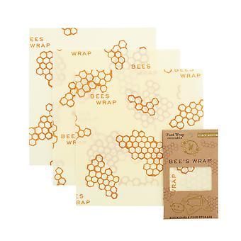 Set of 3 Medium Beeswax Wraps, Honeycomb