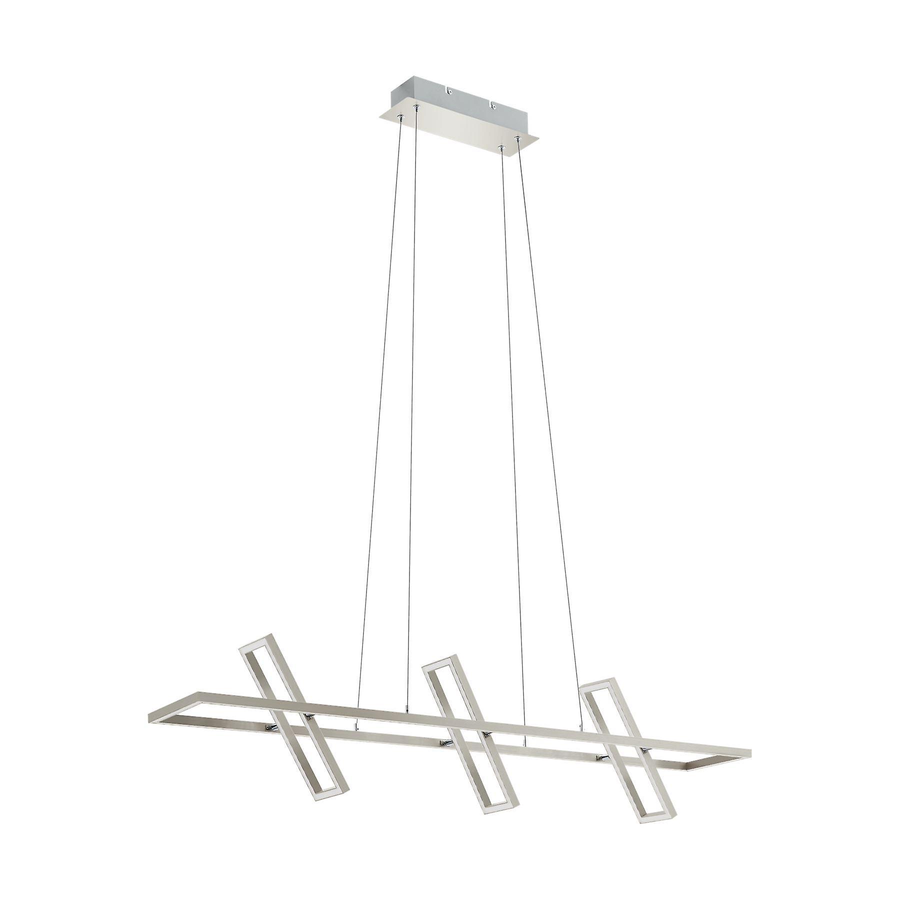Eglo - Tamasara LED Large Rectangular Ceiling Pendant In Satin Nickel And blanc Finish EG96816