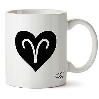 Hippowarehouse hart Aries afgedrukt mok Cup keramiek 10oz