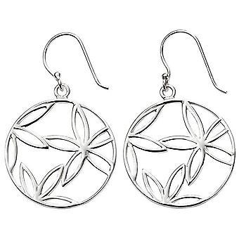 Beginnings Open Flower Disc Earrings - Silver