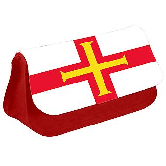 Guernsey Flag Printed Design Pencil Case for Stationary/Cosmetic - 0216 (Red) by i-Tronixs