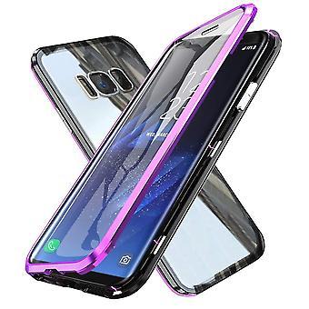 Magnetisches Gehäuse mit vorderen, temperiertem Glas für Samsung Galaxy S8-Purple