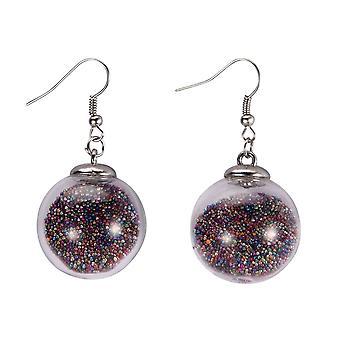 Rainbow Stardust Flying Sphere Earrings