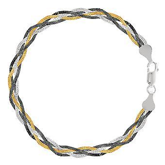 Tricolor flettet slange kjeden Anklet i Sterling sølv, 10