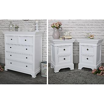 White Bedroom Furniture, Chest of Drawers & Pair of Bedside Tables - Daventry White Range