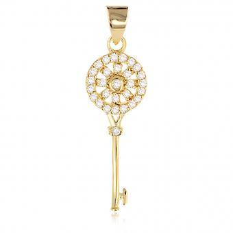 Nyckel guldpläterad hänge med zirkonium kubik