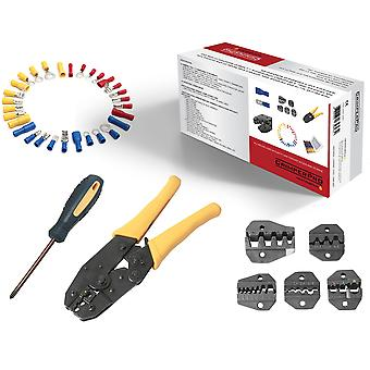 CrimperPro - 470 Pc Kit with Crimping Tool + 5 Removable Crimper Dies/attachments Crosshead Screwdriver 720 Pcs of Various Assorted Crimping Wire End Terminals + 100pcs Male and Female Spade Crimp Connectors