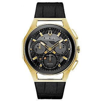 Bulova   Curv   Mens   Chronograph   Black Leather Strap   97A143 Watch