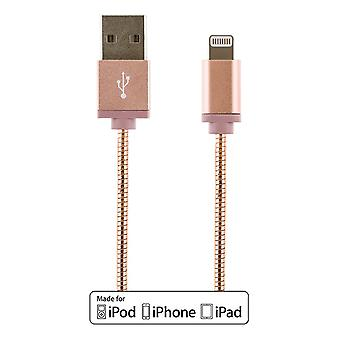 USB-Sync/Charger cable for iPad, iPhone and iPod, metal-clad 1m