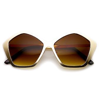 Солнцезащитные очки женщин геометрические моды металла шестиугольника кадра