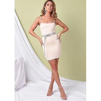 Double Layer Slinky Bodycon Mini Dress Nude Beige