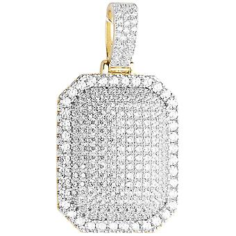 Premium Bling - 925 Sterling Silber Dog Tag Anhänger gold