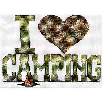 I Love Camping Mini Counted Cross Stitch Kit-6.5
