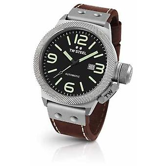 TW Steel Mens Canteen Brown Leather Strap Black Dial CS26 Watch