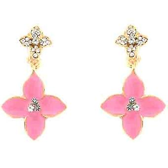 Clip On Earrings Store Pink Enamel Flower  and  Clear Crystal Clip On Earrings