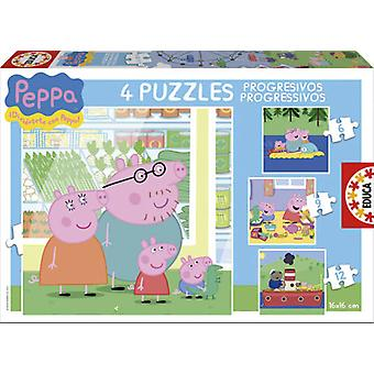 Educa progressiva Peppa Pig 6-9-12-16 (barn, leksaker, bordsspel, pussel)