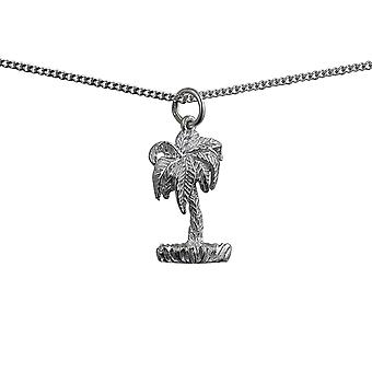 Silver 22x13mm Bermuda Palm Tree Pendant with a curb Chain 24 inches