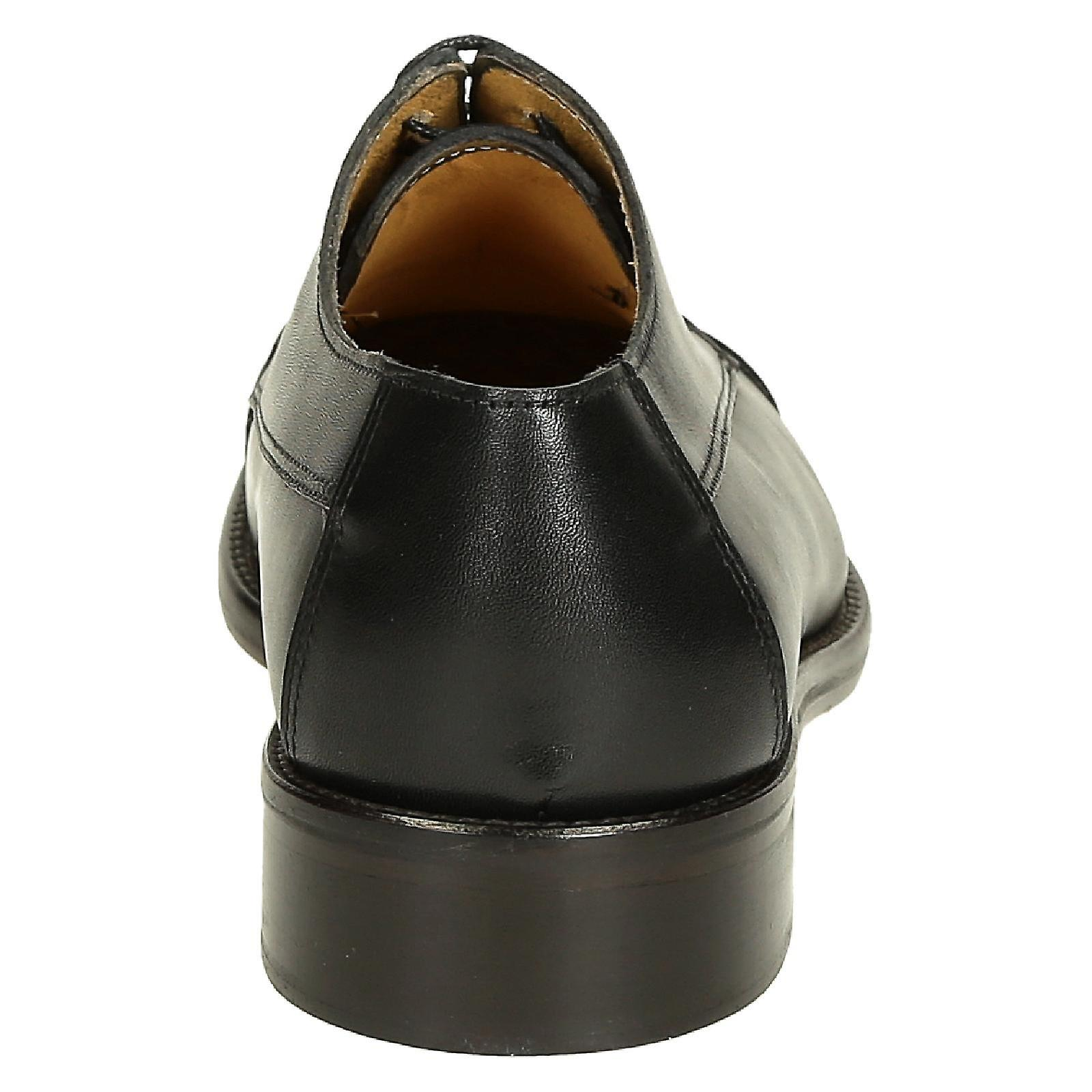 Black calf leather men's plain cap toe derby shoes