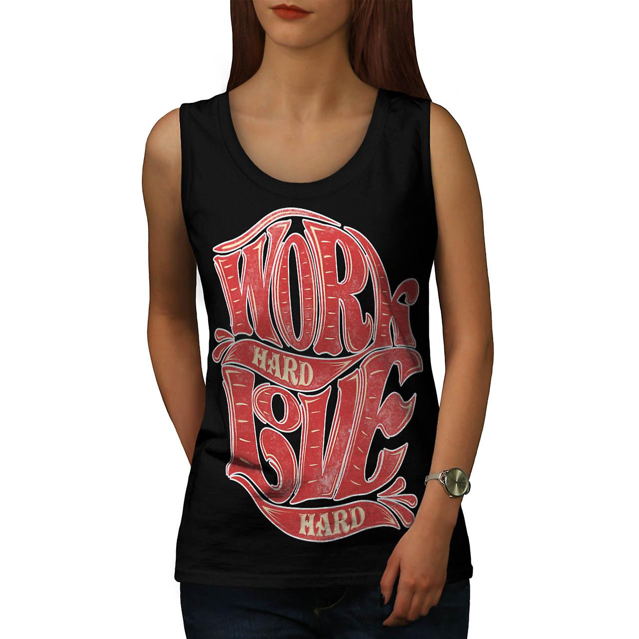 Work Hard Live Slogan Women Black Tank Top | Wellcoda