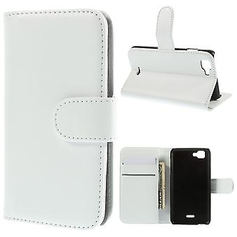 Type PU leather wallet cover for Kiritkumar Kite 4 g (white)