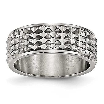 8mm Titanium Polished Studded Ring - Ring Size: 7 to 13