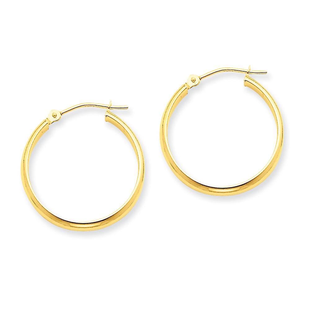 14k jaune or Polished Hinged post Round Tube Hoop Earrings - 1.5 Grams - Measures 22x22mm