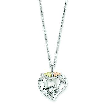 Sterling Silver and 12k Horse In Heart Necklace - 18 Inch