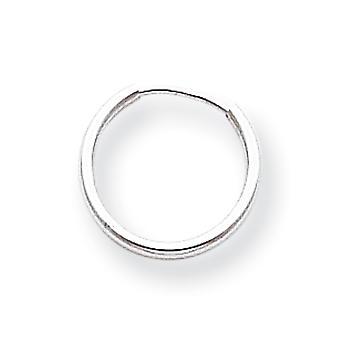 14 k White Gold oändliga Hoop Örhängen -.3 gram - åtgärder 12x12mm