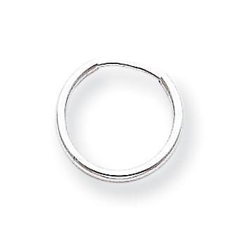 14k White Gold Hollow Polished Endless Hoop Earrings - .3 Grams - Measures 12x12mm